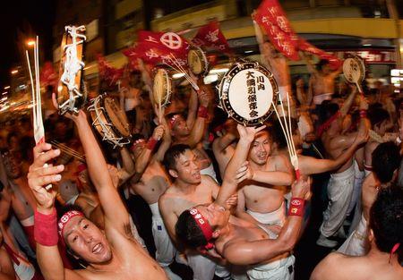 Satsume Sendai City, Japan, September 22, 2009.  Men celebrate after winning the Sendai tug-of-war (tsunahiki)   Editorial