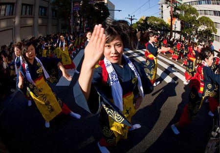 goshima City, Japan, November 2, 2009. Women In Yukata Kimono Dancing In Symmetry During The Ohara Matsuri.