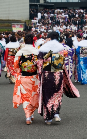 Kagoshima City, Japan, January 10, 2010.   Women in kimono celebrate Coming of Age Day outside the prefectural culture center