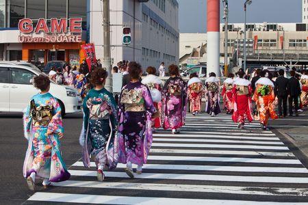 Kagoshima City, Japan, January 10, 2010.   Women in kimono celebrate Coming of Age Day