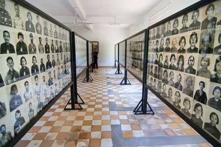 Phnom Penh, Combodia, December 25, 2007. Photos of torture victims at Tuol Sleng  Genocide Museum (S-21 High School) in Phnom Penh, Cambodia Editorial