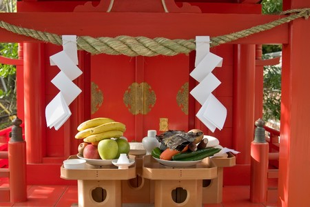 Food offerings at a Japanese Shinto Shrine at New Years Stock Photo - 7376921