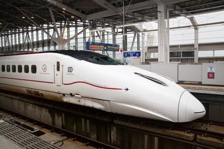 KAGOSHIMA CITY, JAPAN - MARCH 19:  Kyushu Shinkansen 800 series bullet train at the platform of Kagoshima Chuo Station. Kagoshima City, Japan, March 19, 2011.