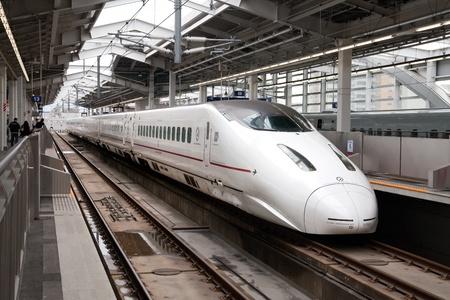 KAGOSHIMA CITY, JAPAN - MARCH 19:  Kyushu Shinkansen 800 series bullet train at the platform of Kagoshima Chuo Station. Kagoshima City, Japan, March 19, 2011.  Stock Photo - 9371695