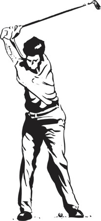 tees: The Golf Swing Pose - One of a series of instructional illustrations