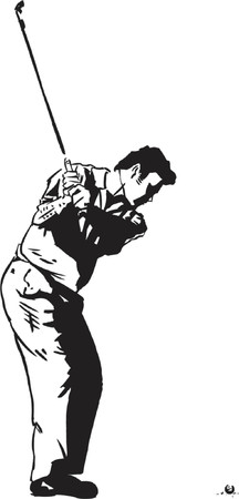 storyboard: The Golf Swing Pose - One of a series of instructional illustrations