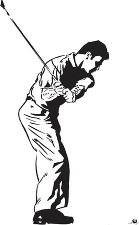 instructional: The Golf Swing Pose - One of a series of instructional illustrations