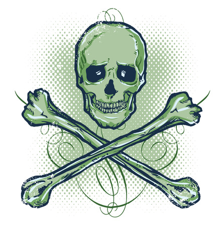 emo: Skull and Crossbones Vector illustration All parts are complete and fully editable Illustration