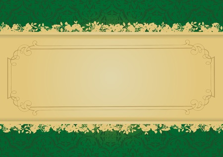 free vector art: Vintage Green and Gold decorative banner vector illustration All parts are editable Illustration