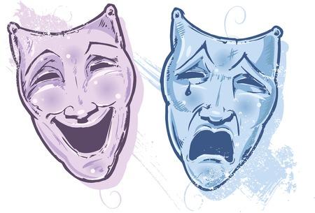 melancholy: Theater Maskers gelukkig en Sad, lachen en Cry vector illustratie Alle onderdelen worden editeerbare Stock Illustratie