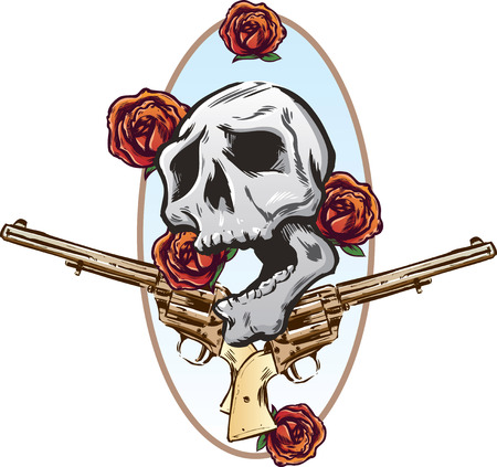 trigger: Guns roses and pistols tattoo style vector illustration all on seperate layers and fully editable
