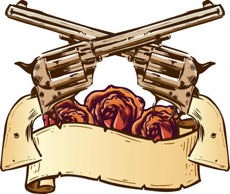firearms: Pistolas y rosas con bandera ilustraci�n totalmente editable Vectores