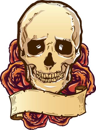 evil: Skull roses and banner vector illustration. Fully editable