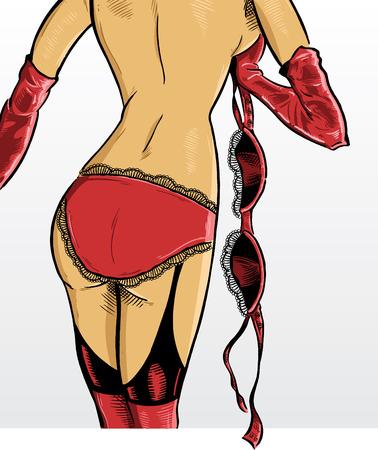 erotic: Beautiful Female Underwear Model in a Strip tease pose Illustration