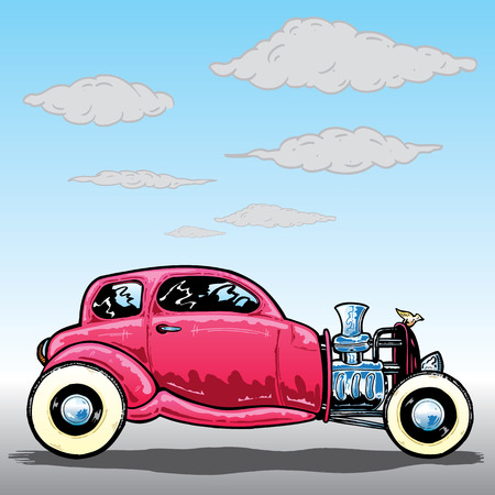 street rod: Retro style Hotrod car vector illustration. Fully editable