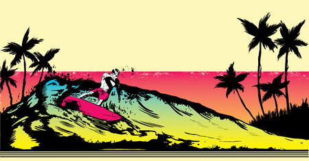 beach scene: Retro style beach scene with surfer illustration