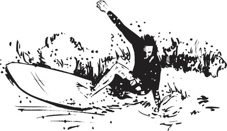 surfing waves: Surfing Sport vector illustration - the Long board Illustration