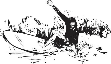 Surfing Sport vector illustration - the Long board Illustration