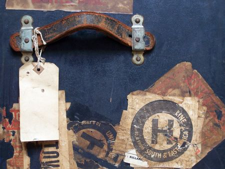 Travel baggage Stickers, Tags & Labels - Grunge Texture - One of a series of images of abstract, rough and textured photographs of a vintage 1920's travel case. Stock Photo - 770040