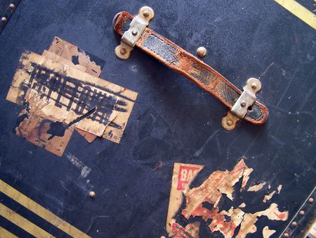 One of a series of images of abstract, rough and textured photographs of a vintage 1920's travel case. Stock Photo - 770020