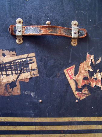 One of a series of images of abstract, rough and textured photographs of a vintage 1920's travel case. Stock Photo - 770021