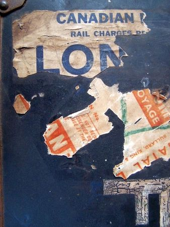 One of a series of images of abstract, rough and textured photographs of a vintage 1920's travel case. Stock Photo - 770002