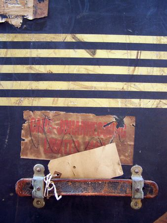 One of a series of images of abstract, rough and textured photographs of a vintage 1920's travel case. Stock Photo - 769944