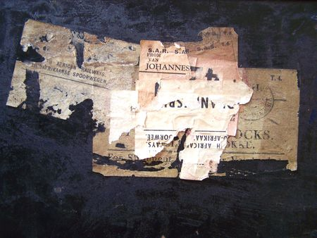 One of a series of images of abstract, rough and textured photographs of a vintage 1920's travel case. Stock Photo - 769876