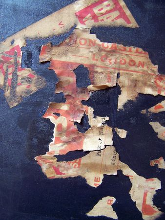 One of a series of images of abstract, rough and textured photographs of a vintage 1920's travel case. Stock Photo - 769878