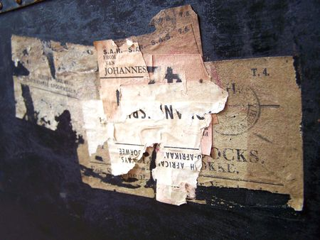 One of a series of images of abstract, rough and textured photographs of a vintage 1920's travel case. Stock Photo - 770361