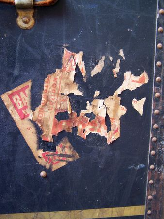 One of a series of images of abstract, rough and textured photographs of a vintage 1920's travel case. Stock Photo - 769884