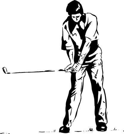 instruct: The Golf Swing Pose - One of a series of instructional illustrations Pen and Ink Version Stock Photo