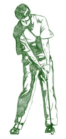 storyboard: The Golf Swing Pose - One of a series of instructional illustrations Pencil Version