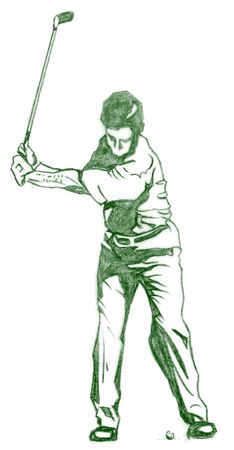 instruct: The Golf Swing Pose - One of a series of instructional illustrations Pencil Version