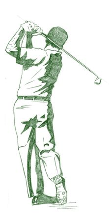 instructional: The Golf Swing Pose - One of a series of instructional illustrations Pencil Version