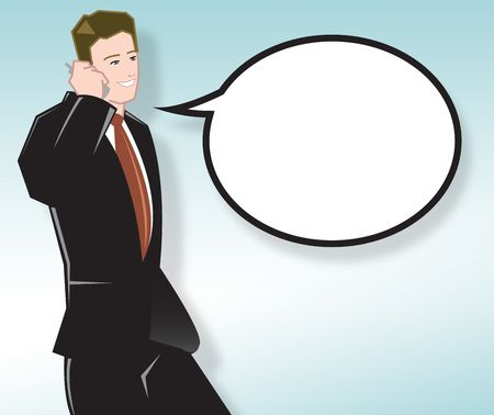 Businessman Talking on Mobile Phone With Speech Bubble - Square Version Stock Photo - 1104210