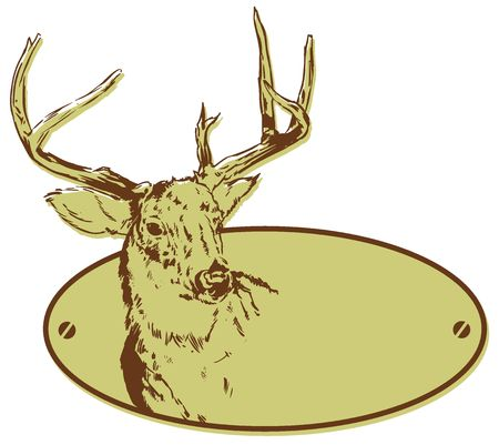 wildlife design: Deer Hunting Club Style Banner Illustration, just add your name!