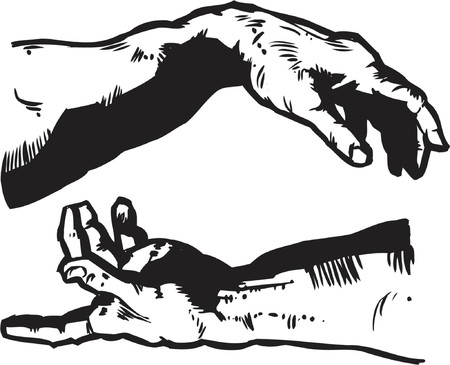 The Hands of Creation - Religion Illustration