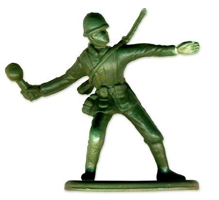 rifleman: Toy Soldier tradicionales escaneadas en alta resoluci�n para permitir la impresi�n a gran tama�o y la extrema detalle.  Foto de archivo