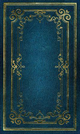 chaqueta de cuero: Vieja textura de cuero azul con oro marco decorativo Foto de archivo