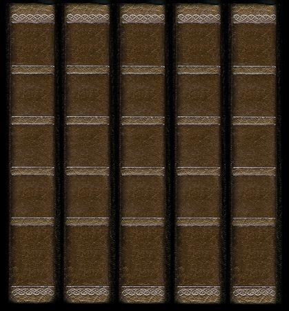 with spines: Old vintage leather book spines with gold decorative details. Matching leather textures and frames also available. Stock Photo