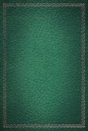 Old green leather texture with gold decorative frame