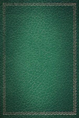copertine libri: Vecchia pelle verde con texture cornice decorativa oro