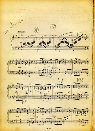 Vintage dirty music sheet with pencil notes and paper texture