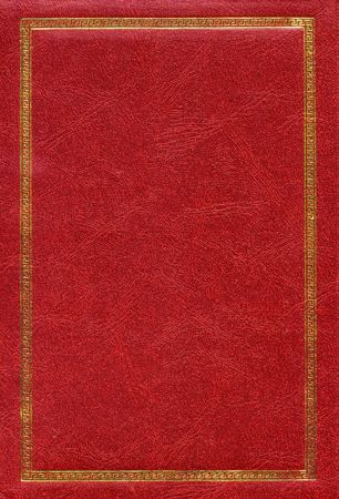 red leather texture: Old red leather texture with gold decorative frame
