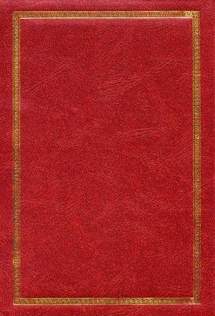 chaqueta de cuero: Old textura de cuero rojo con oro marco decorativo  Foto de archivo