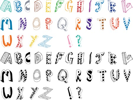Cool Cartoon Style Hand Drawn Alphabet saved as a vector and fully editable. Illustration
