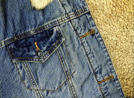 sheep skin: Denim Jacket Pocket Detail with Sheep Skin Texture
