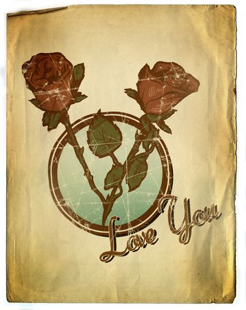 Vintage Style Floral Valentines Background Design Stock Photo - 2425100