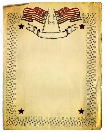 American Patriot Border design on old Broken Paper  Stock Photo